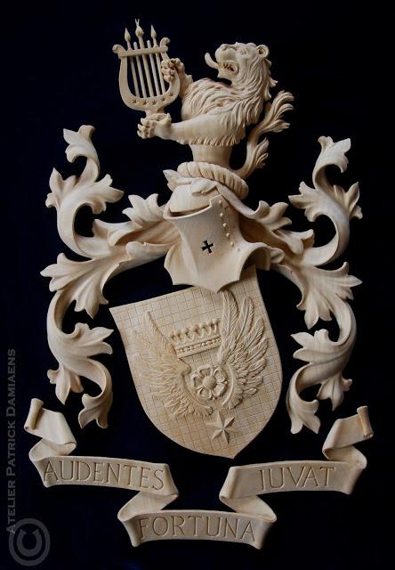 Cornielje arms by Patrick Damiaens, woodcarver
