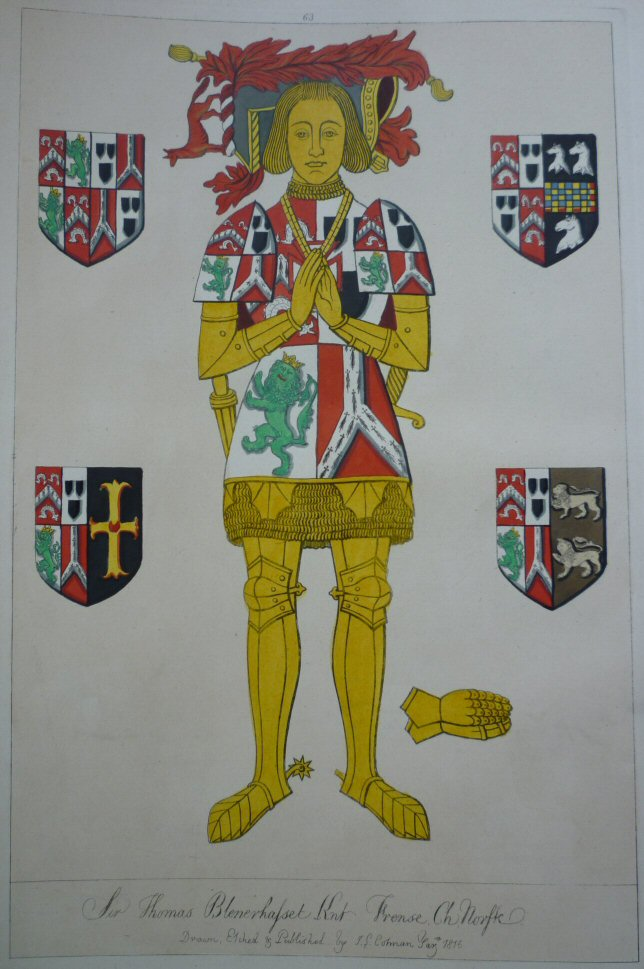 Sir Thomas Blennerhassett Kt 1531 - click on image to enlarge in heraldic colours, from Cotman 1st edition 1839