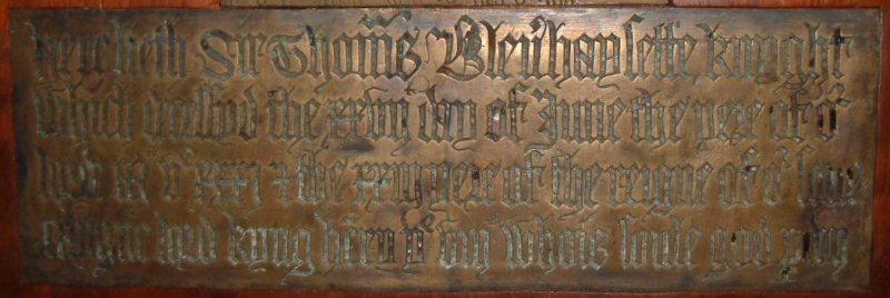 Sir Thomas Blennerhassett, Kt d.1531; Frenze, Norfolk