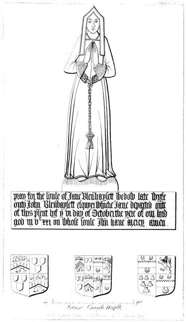 Jane Blennerhassett, nee Tyndall, d.1521; print by Cotman 1815