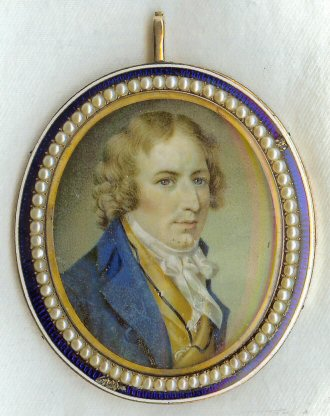 "Harman Blennerhassett, portrait miniature c1795, image copyright © 2008-2016 ""Blennerhassett Island Historical State Park, West Virginia"